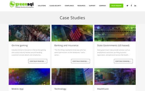 Screenshot of Case Studies Page greensql.com - Case Studies Archives - GreenSQL - captured Dec. 4, 2015