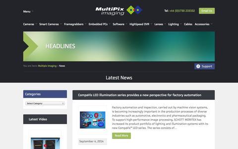 Screenshot of Press Page multipix.com - News | Multipix Imaging - captured Oct. 1, 2014
