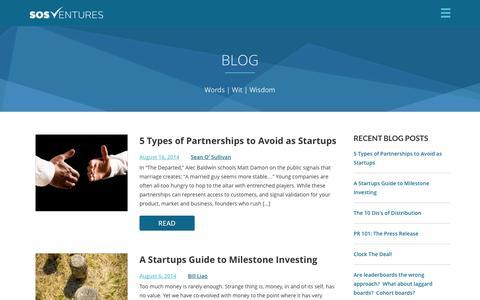 Screenshot of Blog sosventures.com - Blog | SOSventures - captured Sept. 19, 2014