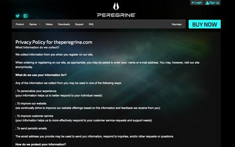 Screenshot of Privacy Page theperegrine.com - Privacy Policy   The Peregrine - captured Sept. 16, 2014
