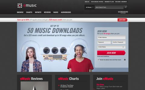 Screenshot of Home Page emusic.com - Discover and Download Music   eMusic - captured Sept. 18, 2014