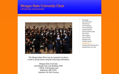 Screenshot of Contact Page msuchoir.org - Contact Us - captured June 22, 2016