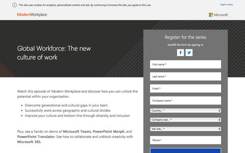 Screenshot of Landing Page office.com - Global Workforce: The new culture of work - captured March 3, 2018