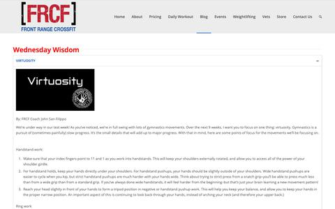 Screenshot of Blog frontrangecrossfit.com - Wednesday Wisdom   Front Range CrossFit - captured Feb. 4, 2019