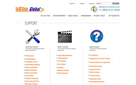 Screenshot of Support Page inklineglobal.com - inKline Global, Inc - captured Sept. 25, 2014