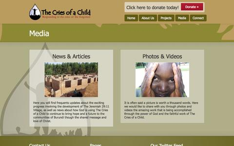 Screenshot of Press Page thecriesofachild.org - Media | The Cries of a Child - captured Oct. 26, 2014