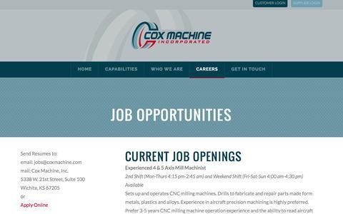 Screenshot of Jobs Page coxmachine.com - Careers | Cox Machine, Inc. - captured Nov. 13, 2016