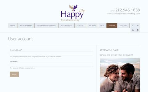 Screenshot of Login Page inmatchmaking.com - User account   Professional Matchmaker NYC   Matchmaking Services NYC   INMatchMaking® - captured Oct. 1, 2018