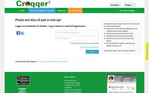 Screenshot of Login Page croqqer.com - Croqqer krijgt je klus gedaan : betaald , ruil of door een vrijwilliger uit je buurt - captured Sept. 15, 2017