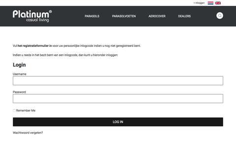 Screenshot of Login Page platinum.nl - Login | Platinum Parasols - captured Sept. 25, 2018