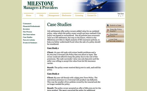 Screenshot of Case Studies Page milestonesettlements.com - Case Studies - Life Settlements | MILESTONE | Life Settlement Provider for Consumers, Insurance Agents, Brokers, Investors - captured Nov. 5, 2014