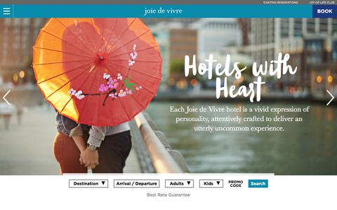 Screenshot of Home Page jdvhotels.com - Boutique Hotel Groups | Joie de Vivre | Boutique Accommodations - captured Nov. 14, 2017