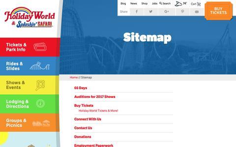 Screenshot of Site Map Page holidayworld.com - Sitemap - Holiday World - captured Aug. 23, 2017
