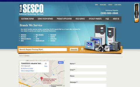 Screenshot of Contact Page teamsesco.com - Contact US for Servo Motor Repair, PLC Repair, AC & DC Repair and More - TEAMSESCO - captured Oct. 7, 2014