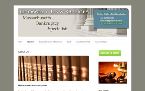 Screenshot of About Page bankruptcymassachusettslawyer.com - About Our Massachusetts Bankruptcy Lawyer Boston Quincy Worcester - captured Oct. 1, 2014