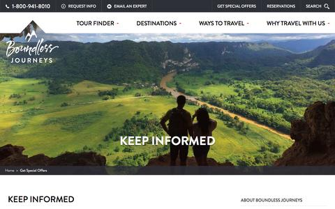 Screenshot of Signup Page boundlessjourneys.com - Sign Up to Get Special Offers | Boundless Journeys - captured July 30, 2016