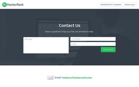 Screenshot of Contact Page hackerrank.com - Programming problems and Competitions :: HackerRank - captured July 19, 2014