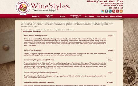Screenshot of Menu Page winestyleswestdesmoines.com - WineStyles of West Glen - captured Oct. 26, 2014