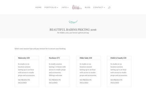 Screenshot of Pricing Page beautifulbairns.com - Edinburgh newborn baby photographer - captured July 28, 2016