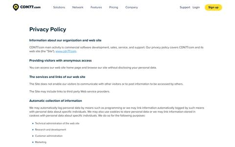Screenshot of Privacy Page cdn77.com - Privacy Policy | CDN77.com - captured June 23, 2017