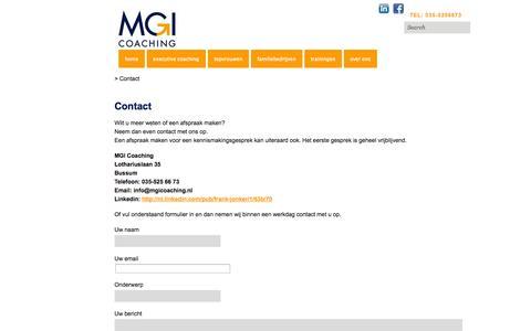 Screenshot of Contact Page mgicoaching.nl - Contact | MGI Coaching | - captured Sept. 30, 2014