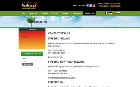 Screenshot of Contact Page firebird.ie - Contact Us - captured Oct. 10, 2018