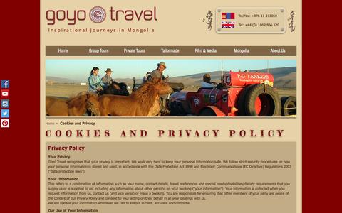 Screenshot of Privacy Page goyotravel.com - Goyo Travel | Inspirational Journeys to Mongolia | Cookies and Privacy | Goyo Travel - captured July 16, 2016