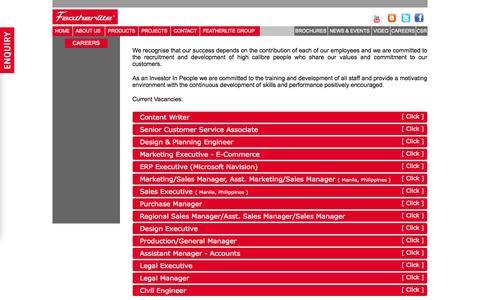 Screenshot of Jobs Page featherliteindia.com - Featherlite India - captured Sept. 19, 2014