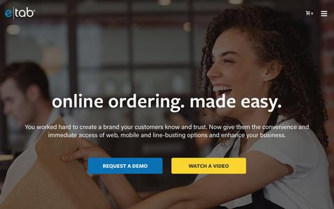 Screenshot of Home Page e-tab.com - e|tab – online ordering made easy - captured July 23, 2018