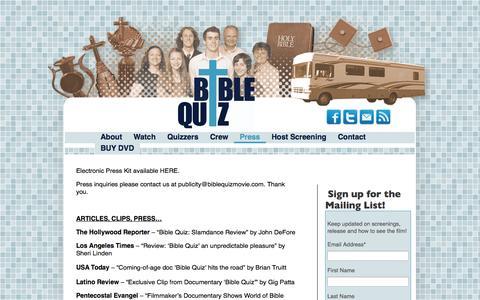 Screenshot of Press Page biblequizmovie.com - Press - Bible Quiz - captured Oct. 4, 2014