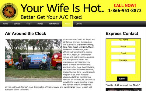 Screenshot of About Page atcair.com - About Air Around the Clock - Your Wife Is Hot. - captured Oct. 7, 2017