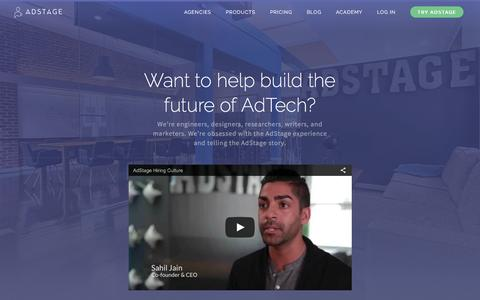 Screenshot of Jobs Page adstage.io - Careers | AdStage - captured March 25, 2016