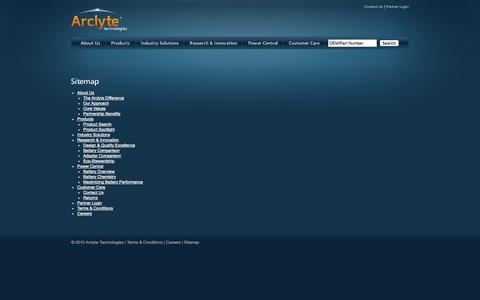 Screenshot of Site Map Page arclyte.com - Arclyte Technologies: Sitemap - captured Oct. 4, 2014