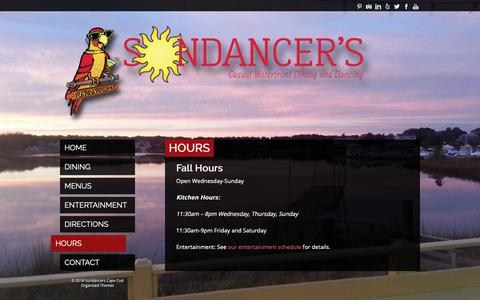 Screenshot of Hours Page sundancerscapecod.com - Hours | Sundancers Cape Cod - captured Nov. 18, 2018