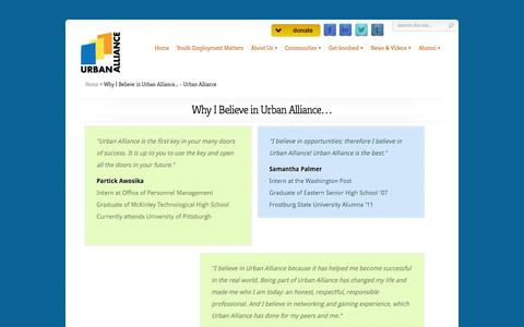 Screenshot of Testimonials Page theurbanalliance.org - Why I Believe in Urban Alliance... - Urban Alliance | Urban Alliance - captured Oct. 9, 2014