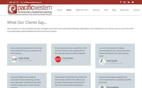 Screenshot of Testimonials Page pacwestpainting.com - Satisfied Clients in San Diego, CA | PacWest Painting Contractors - captured Nov. 8, 2017