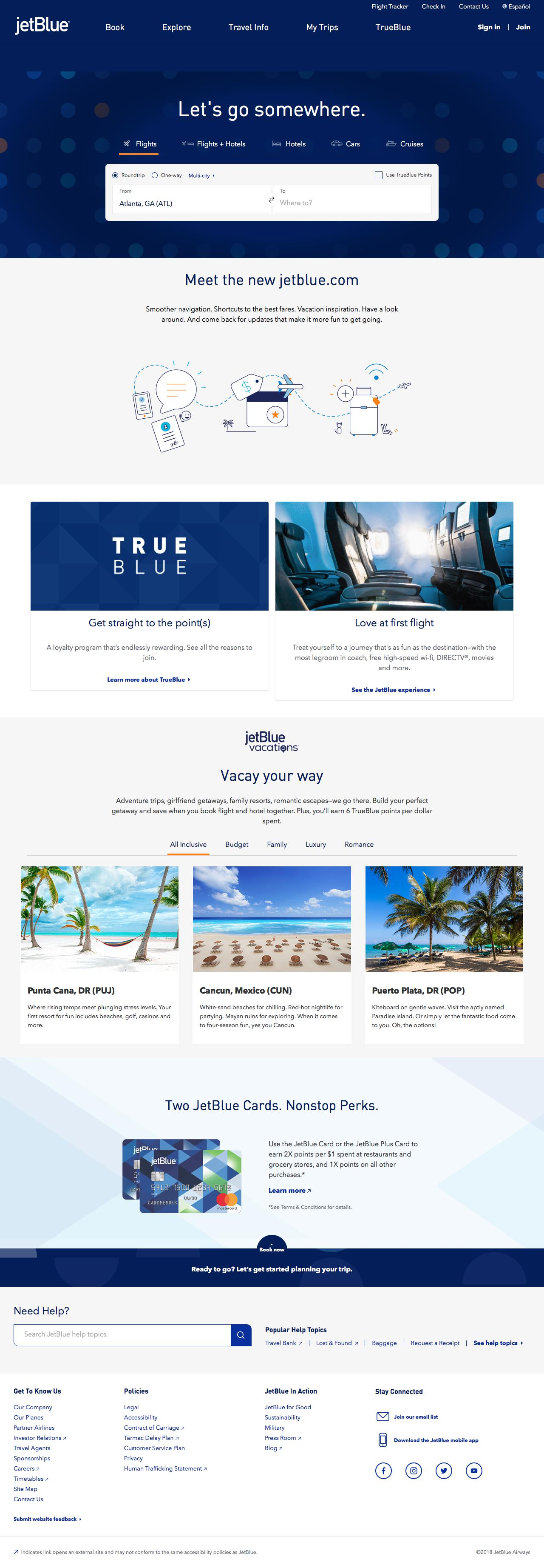 Screenshot of jetblue.com - Airline Tickets, Flights & Airfare: Book Direct - Official Site | JetBlue - captured June 1, 2018