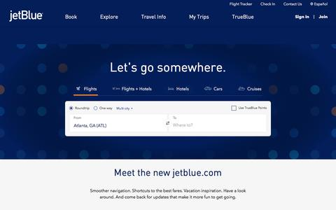 Screenshot of Home Page jetblue.com - Airline Tickets, Flights & Airfare: Book Direct - Official Site | JetBlue - captured June 1, 2018