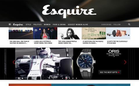 Screenshot of Home Page esquire.com - Esquire - Men's Fashion, Cocktails, Politics, Interviews, and Women - captured Dec. 9, 2015
