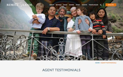 Screenshot of Testimonials Page remotelands.com captured July 8, 2018