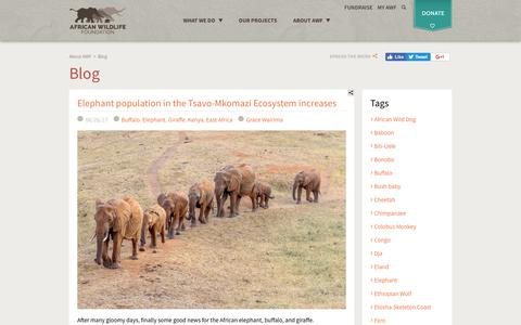 Screenshot of Blog awf.org - Blog   African Wildlife Foundation - captured July 3, 2017