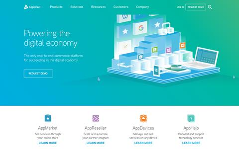 Screenshot of Home Page appdirect.com - AppDirect - Powering the digital economy - AppDirect - captured March 19, 2018