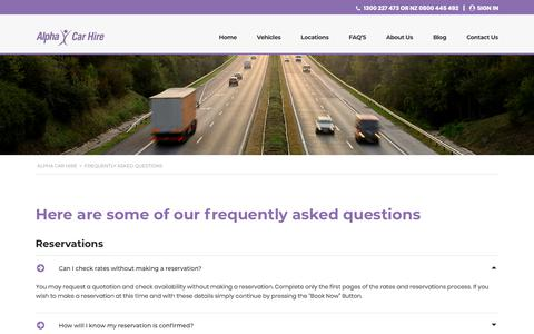 Screenshot of FAQ Page alphacarhire.com.au - Frequently Asked Questions (FAQs) | Alpha Car Hire - captured Dec. 14, 2019