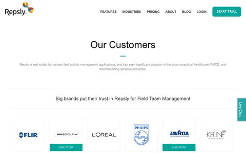 Screenshot of repsly.com - Repsly - customer - captured June 21, 2016