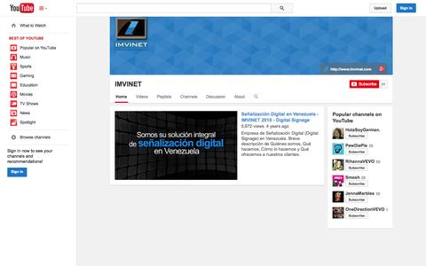 Screenshot of YouTube Page youtube.com - IMVINET  - YouTube - captured Oct. 23, 2014