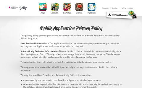 Screenshot of Privacy Page siliconjelly.com - Silicon Jelly - captured Oct. 26, 2014