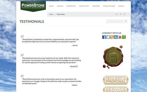 Screenshot of Testimonials Page powerstonepm.com - Testimonials   Powerstone Property Management - captured Oct. 2, 2014