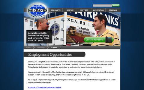 Screenshot of Jobs Page fairbanks.com - Employment Opportunities - captured Sept. 22, 2014