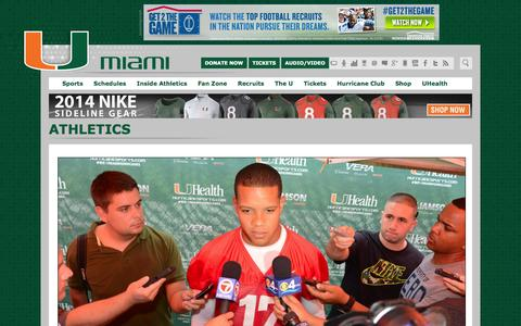 Screenshot of Press Page hurricanesports.com - Athletic Communications & Digital Strategy - University of Miami Hurricanes Official Athletic Site - captured Sept. 22, 2014