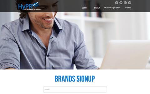 Screenshot of Signup Page hyprbrands.com - Welcome to HyPR - captured Oct. 27, 2014